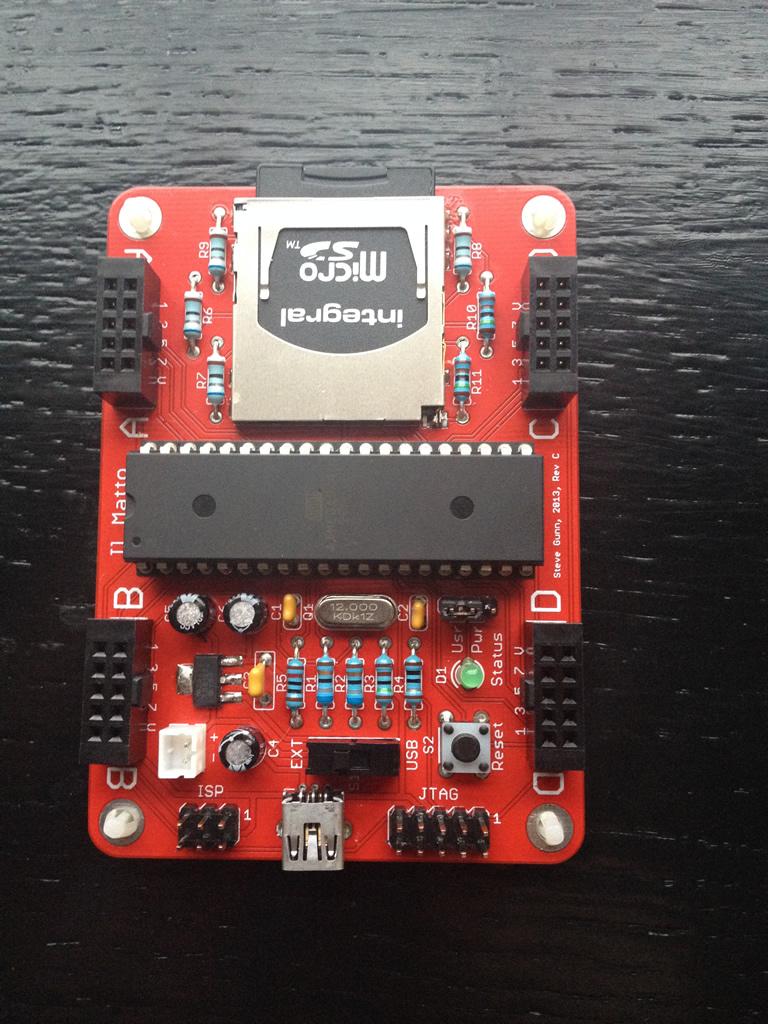 Il Matto AVR microcontroller board: front